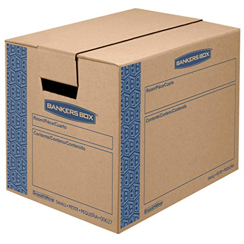 Bankers Box SmoothMove Prime Moving Boxes, Tape-Free and Fast-Fold Assembly, Small, 16 x 12 x 12 Inches, 5 Pack (8862701)