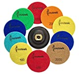 Diamond Polishing Pads 4 inch Flexible, Durable Wet/Dry 11 Piece Set (10 pads + Backer) For Granite, Stone, Marble, Travertine, Concrete, Quartz, Terrazzo, Engineered Stone, Dekton Stone Countertops