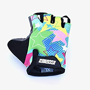 ZippyRooz Toddler & Little Kids Bike Gloves for Balance and Pedal Bicycles (Formerly WeeRiderz) For Ages 1-8 Years Old. 6 Designs for Boys & Girls (Stars, Little Kids XL (7-8))