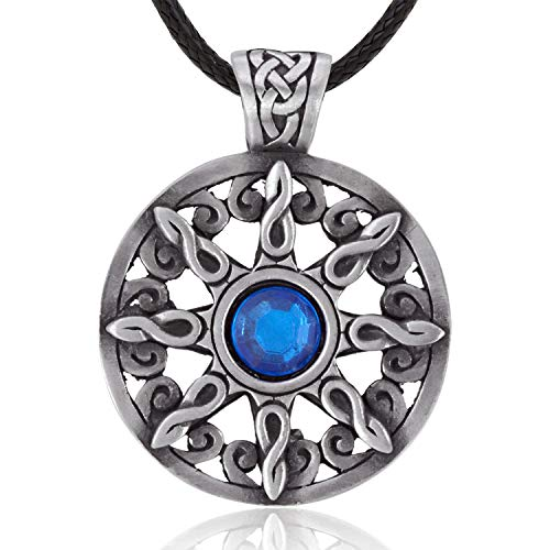 Namaste Jewelers Blue Crystal Irish Celtic Knot Pendant Necklace Pewter Jewelry