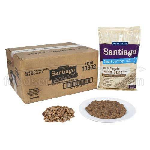 Santaigo Whole Vegetarian Refried Beans - 26.25 oz. pouch, 6 pouches per case