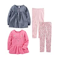[Sponsored]Toddler Girls' 4-Piece Long-Sleeve Shirts and Pants Playwear Set