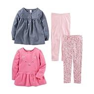 Toddler Girls' 4-Piece Long-Sleeve Shirts and Pants Playwear Set