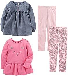 Toddler Girls 4-Piece Long-Sleeve Shirts and Pants Playwear Set