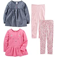 Simple Joys by Carter's Toddler Girls' 4-Piece Long-Sleeve Shirts and Pants Playwear Set