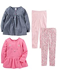 Simple Joys by Carter's Toddler Girls 4-Piece Playwear Set, Chambray, 2T