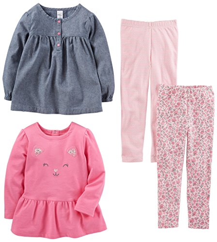 Girls Clothes Set (Simple Joys by Carter's Toddler Girls 4-Piece Playwear Set, Chambray, 3T)
