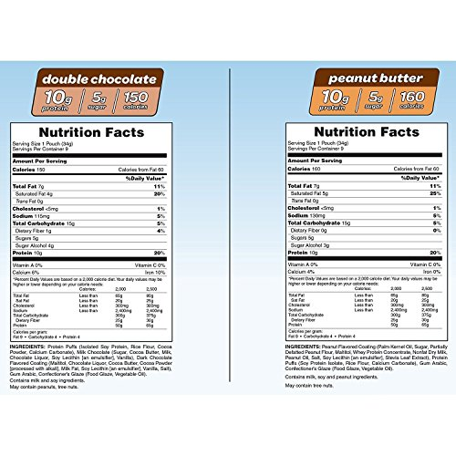 Pure Protein Crunch Bars; Peanut Butter and Double Chocolate 18 pack (9 of each flavor), 21.60oz (612g)