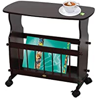 Uniquewise Wooden Magazine Rack Table with Rolling Casters