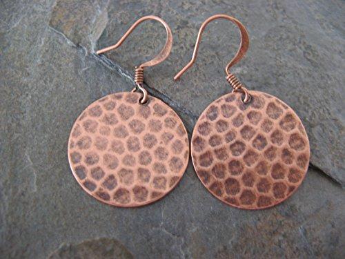 Hammered Metal Disks Copper Earrings Boho Artisan - Hammered Copper Disc