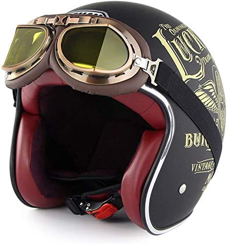 LWAJ Neuer Harley-Helm im Vintage-Stil Mopedhelme DOT-zertifizierter handgefertigter Cruiser Chopper Scooter Touring-Motorradhelm mit Schutzbrille f/ür Erwachsene M/änner Frauen
