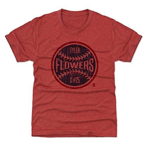 500 LEVEL's Atlanta Baseball Youth Shirt - Kids X-Small (4-5Y) Tri Red - Tyler Flowers Atlanta Ball B (Tyler Flowers)