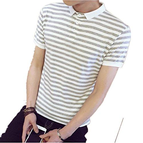 (ラブビューティー) Lovebeauty  夏品 メンズ 半袖ポロシャツ ボーダー柄 ゴルフシャツ 運動服 半袖シャツ 3色ある