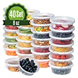 Deli Plastic Food Storage Containers with Airtight Lids [40 sets] (8oz)