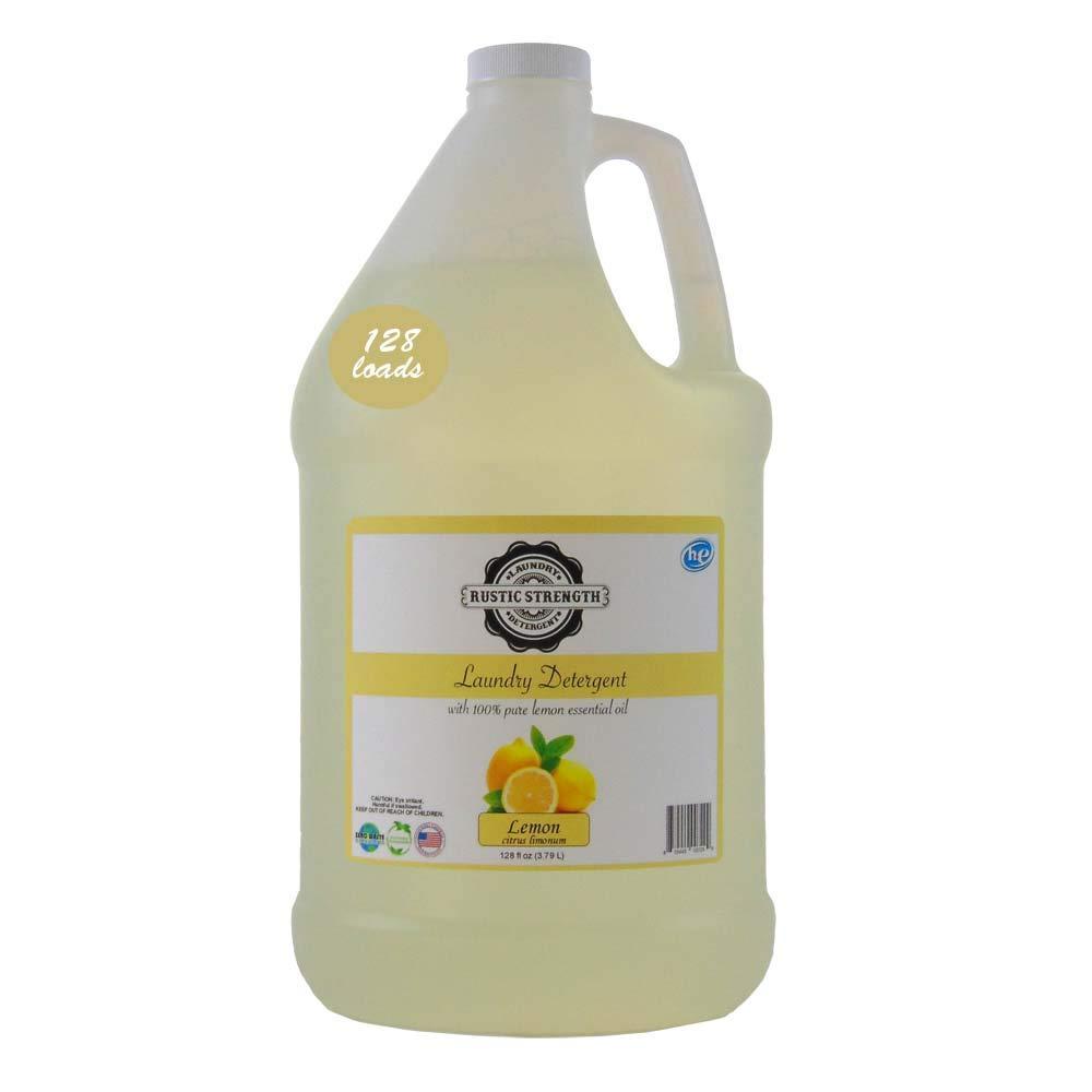 Laundry Detergent scented with 100% Pure Lemon Essential Oils 128 fluid oz EcoFriendly Biodegradable No Hormone Disruptors 128 loads