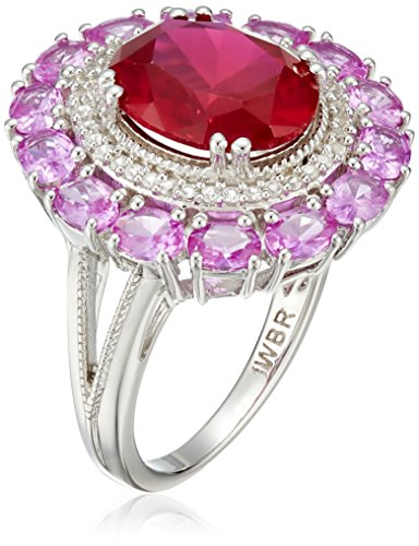 Shape Created Ruby and Created Pink Sapphire with Round Created White Sapphire Cocktail Ring, Size 7 (Oval Shape Ruby Ring)