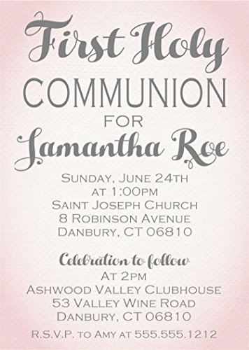 (Girls Pink Personalized First Holy Communion Invitations)