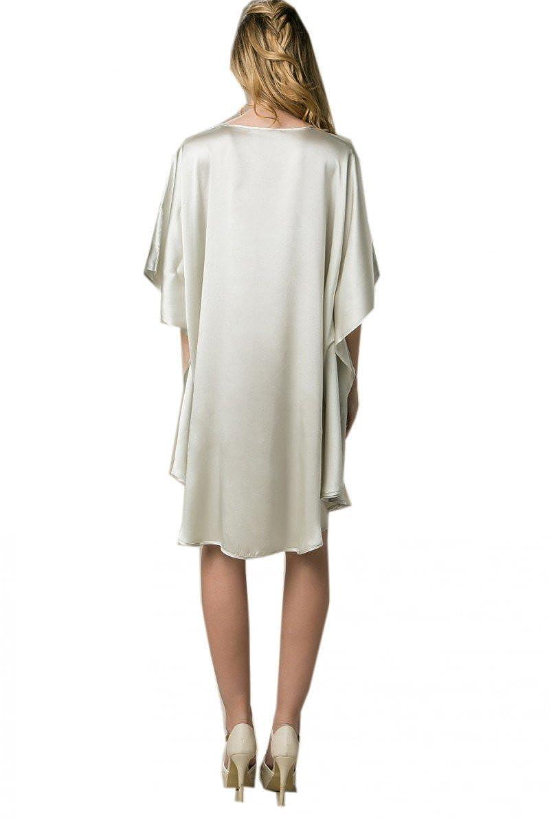 Prettystern - 100% del camisón Kimono de Seda Pintado a Mano con Pintura China - YBS011 luz de Pescado y Agua Lirios Verdes: Amazon.es: Ropa y accesorios