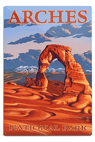 Lantern Press Arches National Park, Utah - Delicate Arch Illustration (12x18 Aluminum Wall Sign, Metal Wall Decor Ready to Hang)