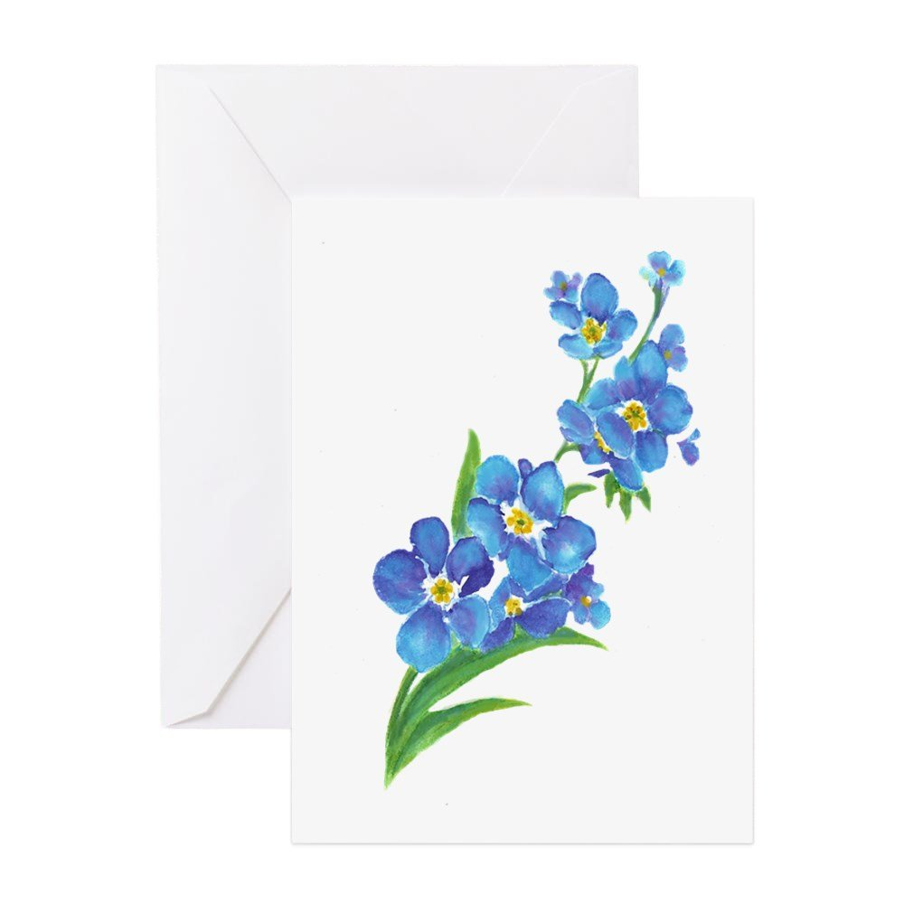 Amazon Cafepress Forget Me Not Flower Watercolor Painting