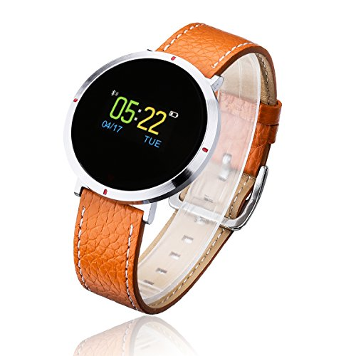 Smart Watch for Women, GOKOO S2 Girls Men Bluetooth Waterproof Leather Touchscreen Round Smartwatch with Heart Rate Blood Pressure Sleep Monitor Notifications for iPhones and Android Phones - Brown by GOKOO