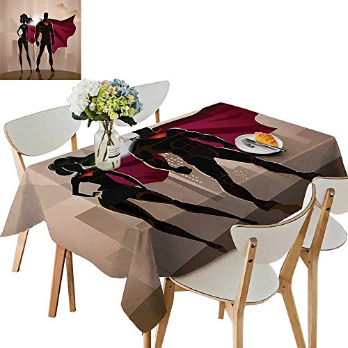 UHOO2018 Decorative Tablecloth Square/Rectangle Super Woman Man Heroes City Hot Couple Costume Assorted Size,54x72 inch ()