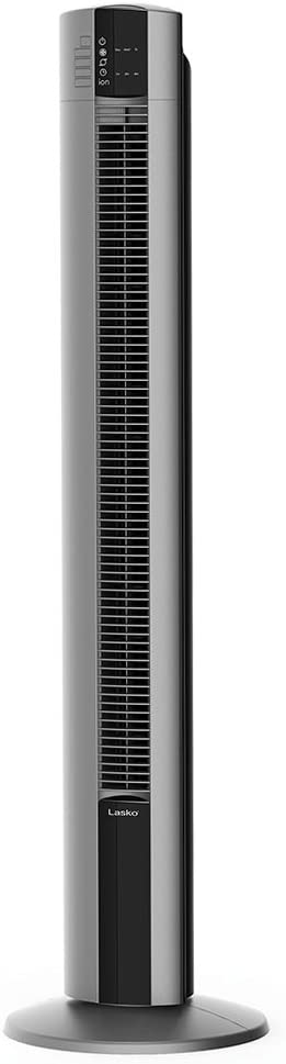 "Lasko Portable Electric 48"" Oscillating Tower Fan with Fresh Air Ionizer, Timer and Remote Control for Indoor, Bedroom and Home Office Use, Gray T48310"