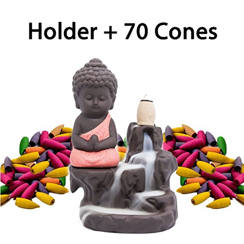 Incense Burner Backflow Set Mixed Aromatherapy Tower Cones Sticks Holder Ceramic Waterfall Buddha Monk Ash Catcher -IN007 Red (70 Variety Cones& Holder)