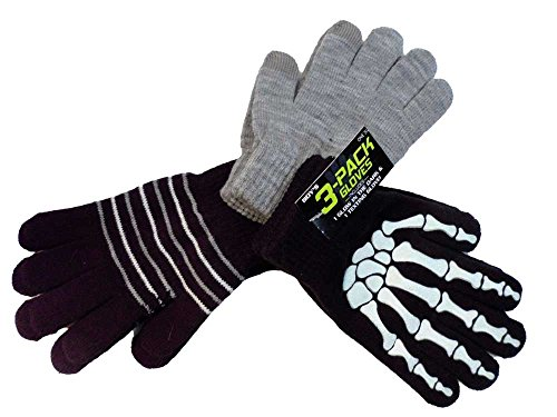 Junior Boys 3 Pack Gloves With One Texting Glove One Size 4-7 Black Gray Bones