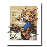 Victorian French Country Flowers Violin Music Wall Picture 16x20 Art Print