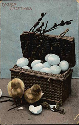 Easter Greetings With Chicks Original Vintage Postcard from CardCow Vintage Postcards