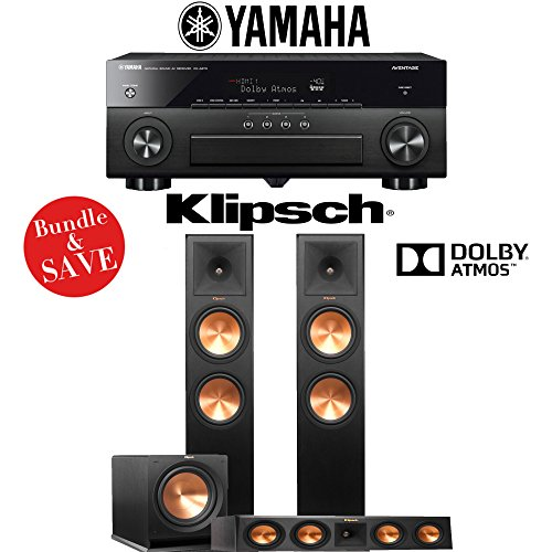 Yamaha AVENTAGE RX-A870BL 7.2-Channel Network A/V Receiver + Klipsch RP-280FA + Klipsch RP-450C + Klipsh R-112SW - 3.1-Ch Dolby Atmos Home Theater Package by Klipsch