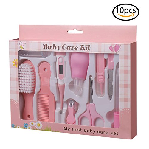 Baby Health Care Kit (Boy & Girl) Deluxe Nail Clipper, Nail File, Scissors, Tweezers, Nasal Aspirator, Dropper Feeding, Digital Thermometer, Comb, Hair Scrubber, Fingertip Toothbrush (10 Pcs) - Pink