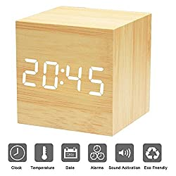Bashley Wood Alarm Clock Digital LED Light Minimalist Mini Cube with Date and Temperature Sound Control Desk Alarm Clock for Travel, Kids Bedroom, Home, Office-Wooden