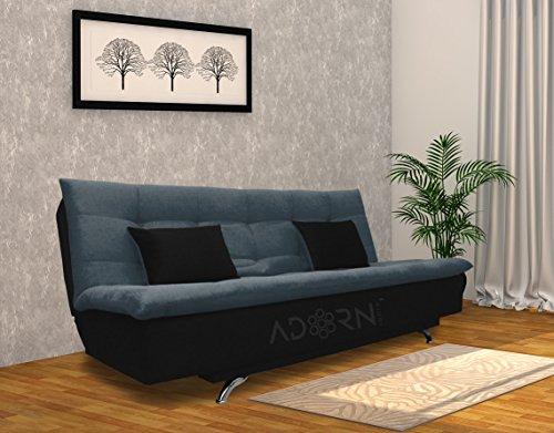 Adorn India Aspen Three Seater Sofa Cum Bed (Dark Grey and Black)
