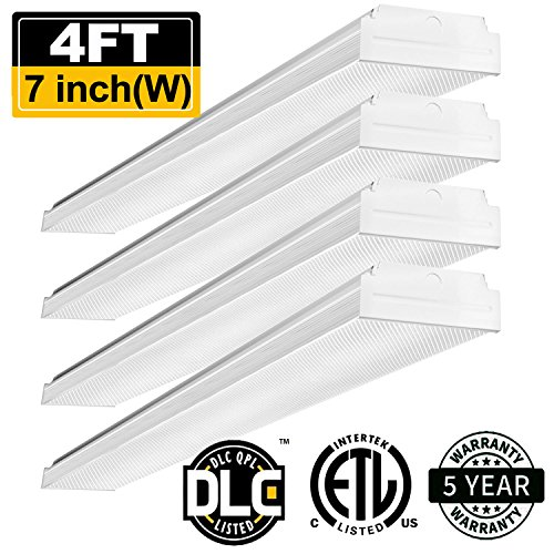 AntLux 4ft LED Garage Shop Lights LED Wraparound Light Fixture - 40W 4800LM - 4000K Neutral White - Integrated Low Profile Linear Flush Mount Ceiling Lighting - 120W Fluorescent Replacement (White Fluorescent Mount)