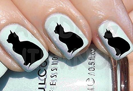 AWS Juego Water Decals gato negro gatos Gatitos negros Nail Art pegatinas stickers Transfer Black Cat Cats Decoración: Amazon.es: Bricolaje y herramientas