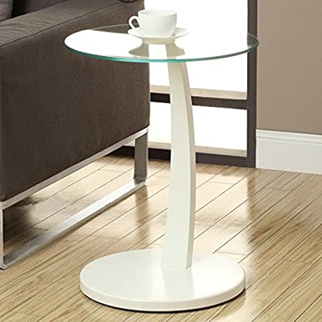 Monarch Bentwood Accent Table With Tempered Glass White