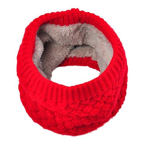 Lo Shokim Infinity Scarf Circle Loop Knit Neck Warmer Winter Warm Scarf Neck Gaiter,Red