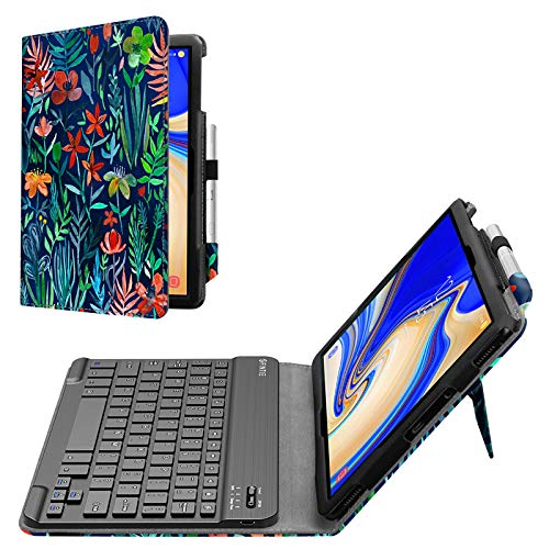 Fintie Folio Keyboard Case for Samsung Galaxy Tab S4 10.5 2018 Model SM-T830/T835/T837, Premium PU Leather Stand Cover with Removable Wireless Bluetooth Keyboard, Jungle Night