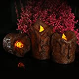Flameless Candles 2.5'' 3'' 4'' Set of 3 Dark Brown Dripless Plastic LED Pillars Candles Realistic Dancing Flames long lasting unscented Tealights Battery Operated(2AAA Batteries Not Included)