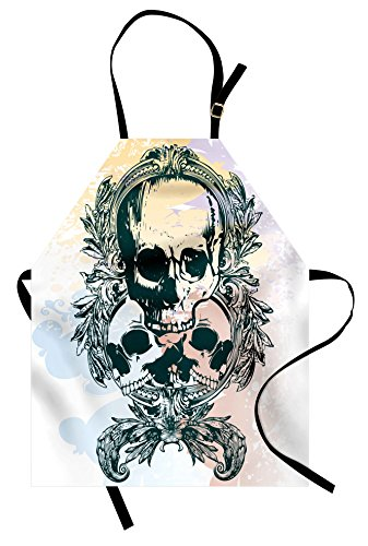 Ambesonne Skull Apron, Scary Deadly Rocker Skeleton Head Trio with Frames from Leaves Image, Unisex Kitchen Bib with Adjustable Neck for Cooking Gardening, Adult Size, Yellow Emerald]()