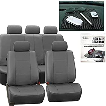 FH GROUP PU007115 Deluxe Leatherette Full Set Solid Gray Car Seat Covers Airbag