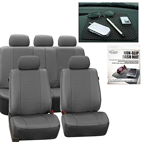 Gmc Full Dash Cover - FH Group PU007115 Deluxe Leatherette Full Set Solid Gray Car Seat Covers, Airbag Ready and Split with FH1002 Non-slip Dash Grip Pad- Fit Most Car, Truck, Suv, or Van