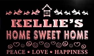 tag465-r Kellie's Home Sweet Home Scottie Dog Peace Love Neon Light Sign