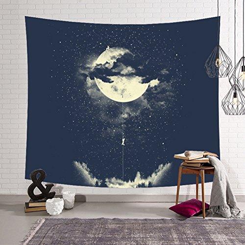 Bohemian Stars - Kiber Psychedelic Bohemian Mandala Tapestry Wall hanging Bedding Decoration World Map Black & White Forest Star Moon for Bedroom Living Room Dorm (Star-4)
