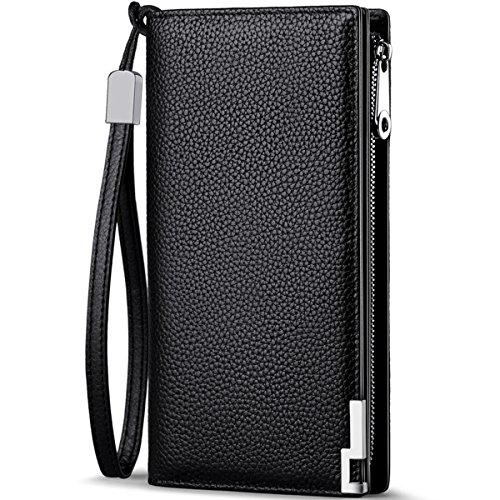 Huztencor Long Wallets for Men RFID Blocking Wallet Bifold Leather Slim Credit Card Holder Zip Around Wallet Purse with Zipper Strap Black -