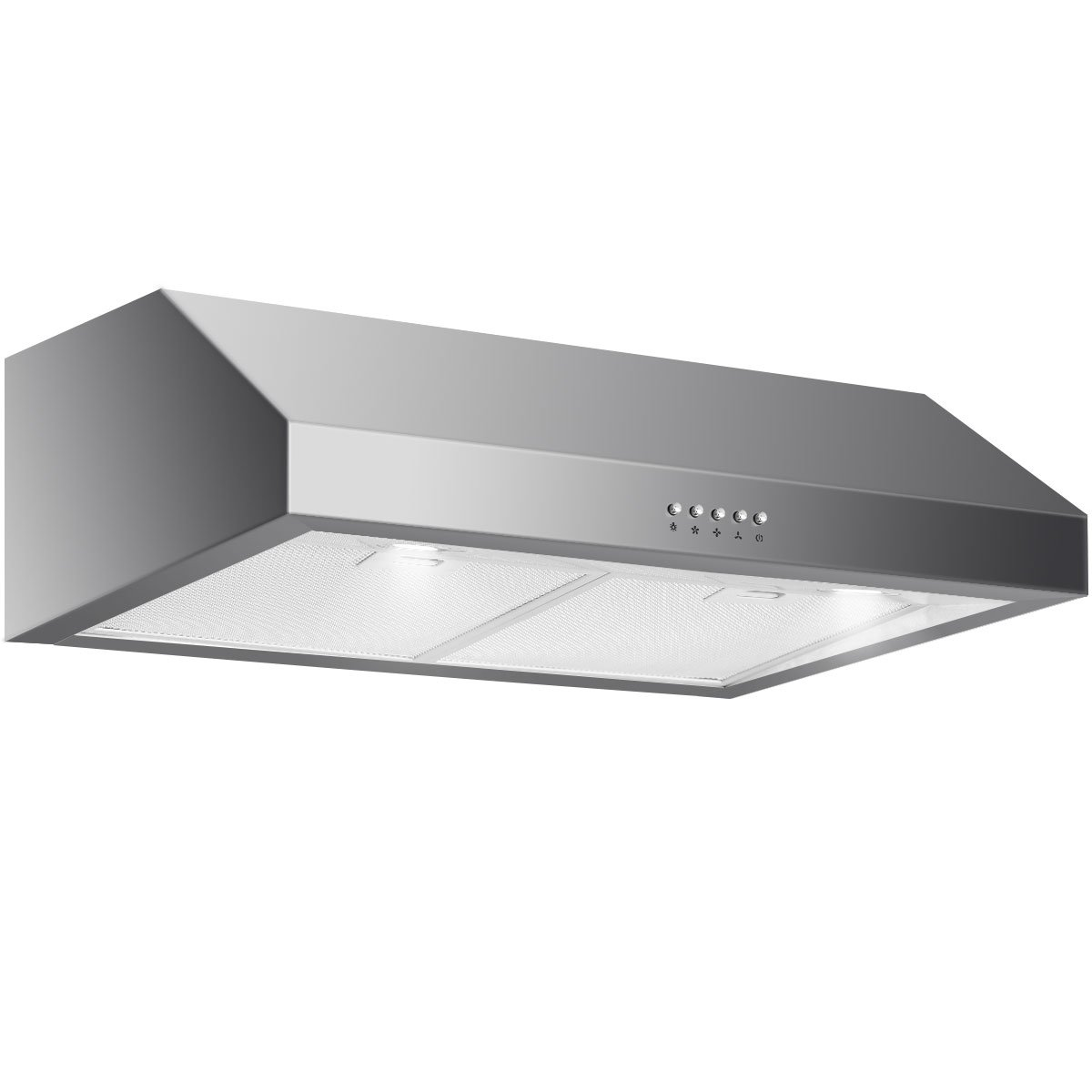 Wall Mount /& Tempered Glass COSTWAY 30 Wall Mount Range Hood Stainless Steel Kitchen Cooking Vent Fan with LED Light