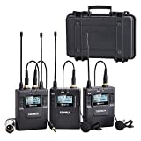 Comica CVM-WM300(A) 96-Channels UHF Professional Dual Wireless Lavalier Microphone System for DSLR & Camcorder Video, Includes 1Portable Receiver, 2Bodypack Transmitter(394-foot Range)
