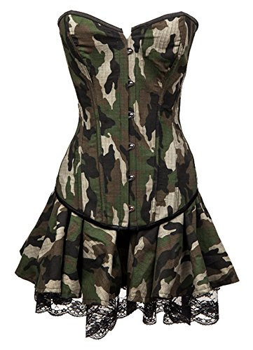Army Womens Fancy Dress (Barathrum Women Army Costume Sexy Outfits Camouflage Corset Fancy Dress 2248-Army Green-XL)